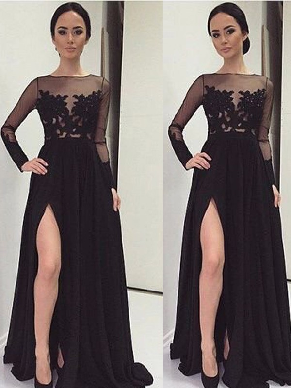 A-Line/Princess Bateau Long Sleeves Lace Floor-Length Chiffon Dresses