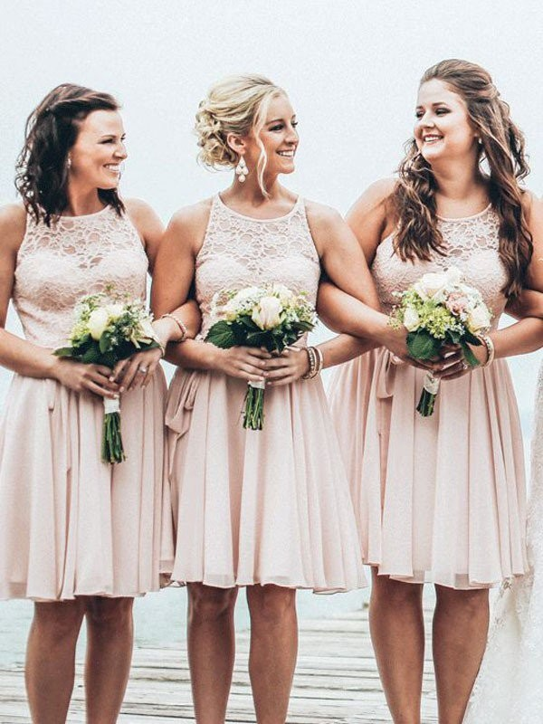 A-Line/Princess Sleeveless Scoop Short/Mini Chiffon Bridesmaid Dresses