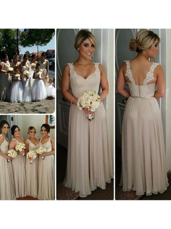 A-Line/Princess Sweetheart Sleeveless Floor-Length Chiffon Bridesmaid Dresses