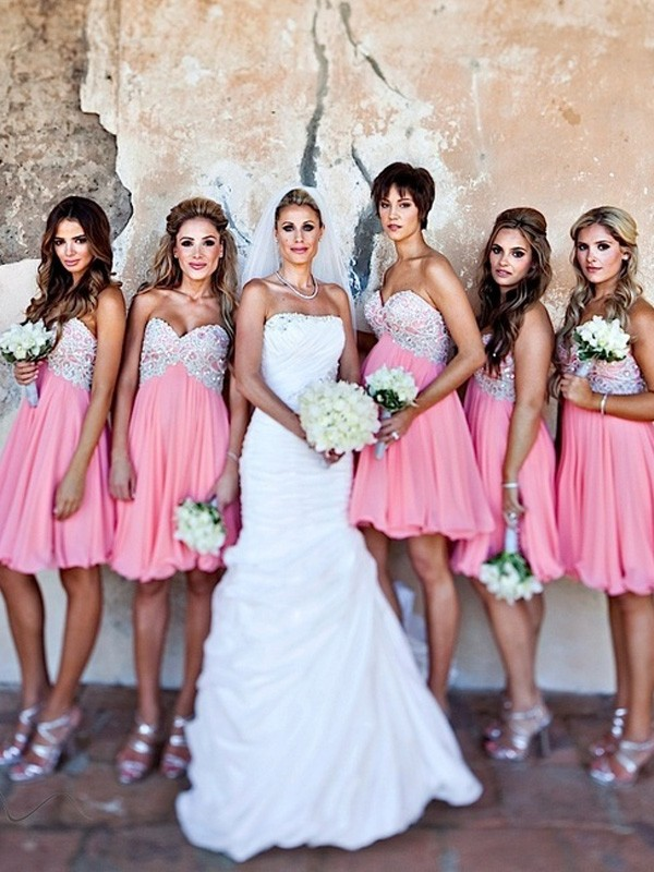A-Line/Princess Sleeveless Sweetheart Short/Mini Chiffon Beading Bridesmaid Dresses