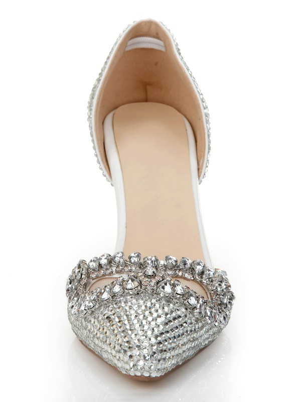 Women's Stiletto Heel Patent Leather Closed Toe With Rhinestone Silver Wedding Shoes