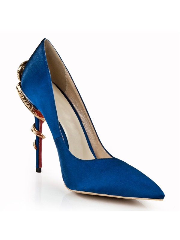 Women's Royal Blue Stiletto Heel Closed Toe With Rhinestone High Heels