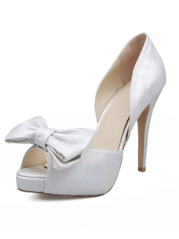 Women's Satin Peep Toe With Bowknot Stiletto Heel Sandals Shoes