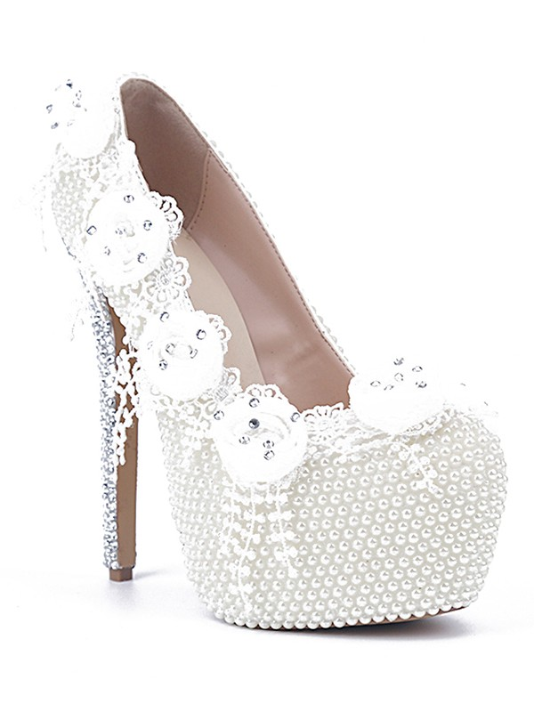 Women's Patent Leather Stiletto Heel Closed Toe With Pearl White Wedding Shoes