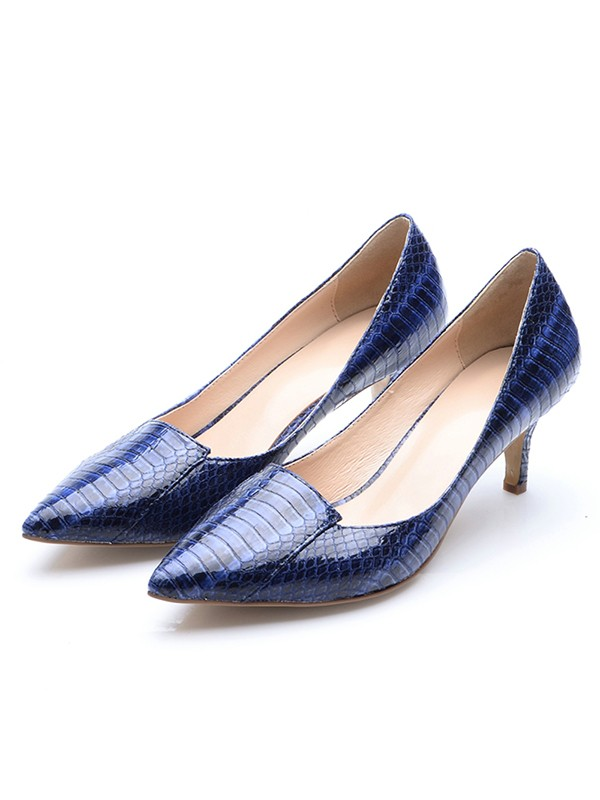 Women's Closed Toe Patent Leather Cone Heel With Crocodile Print High Heels