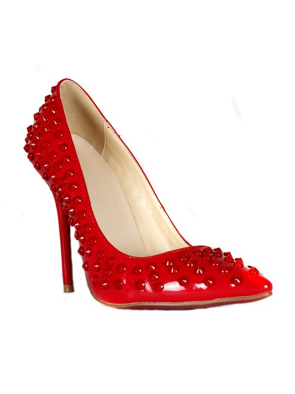 Women's Patent Leather Stiletto Heel Closed Toe With Rhinestone High Heels