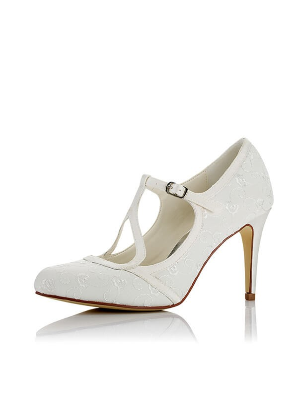 Women's Satin PU Closed Toe Stiletto Heel Wedding Shoes
