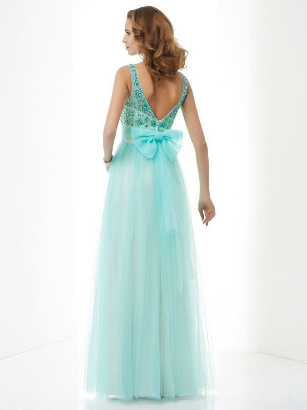 A-Line/Princess Bateau Sleeveless Beading Long Elastic Woven Satin Dresses