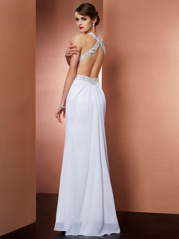 A-Line/Princess Halter Sleeveless Applique Beading Long Chiffon Dresses