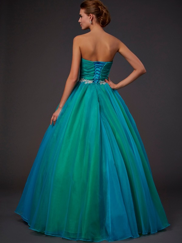 Ball Gown Sweetheart Sleeveless Long Beading Tulle Quinceanera Dresses