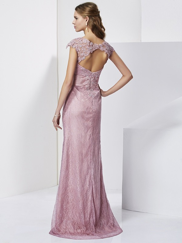 Sheath/Column High Neck Short Sleeves Lace Long Elastic Woven Satin Mother of the Bride Dresses