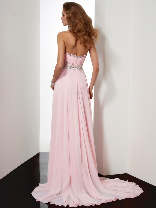 A-Line/Princess Sweetheart Sleeveless Beading Applique Long Chiffon Dresses