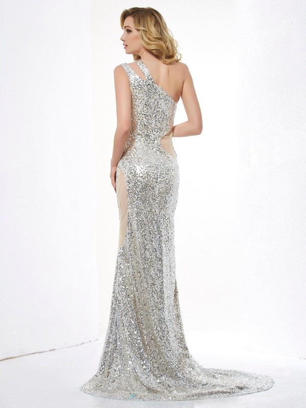 Trumpet/Mermaid One-Shoulder Sleeveless Lace Long Lace Dresses