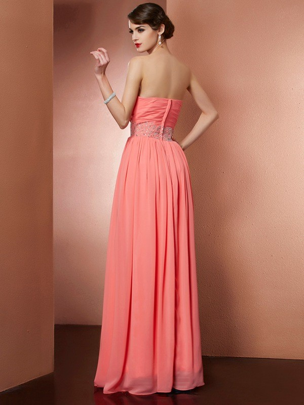 A-Line/Princess Strapless Sleeveless Pleats Beading Long Chiffon Dresses