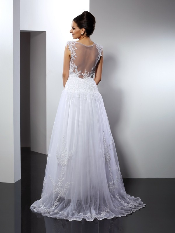 A-Line/Princess Straps Applique Sleeveless Long Lace Wedding Dresses