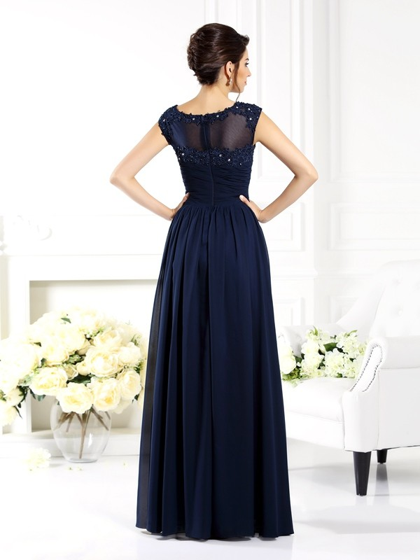 A-Line/Princess Scoop Beading Sleeveless Long Chiffon Mother of the Bride Dresses