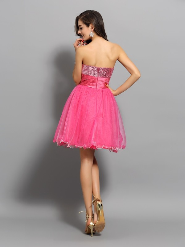 A-Line/Princess Sweetheart Ruffles Sleeveless Short Net Cocktail Dresses