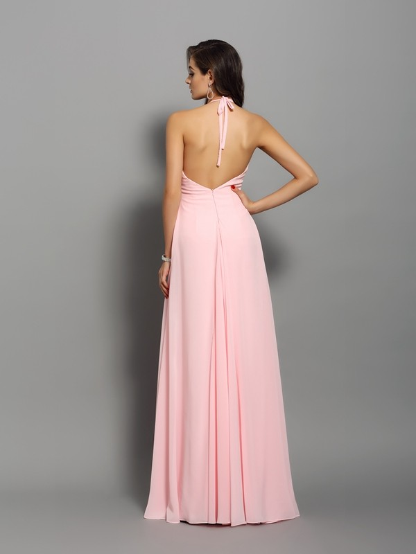 Sheath/Column High Neck Beading Sleeveless Long Chiffon Dresses