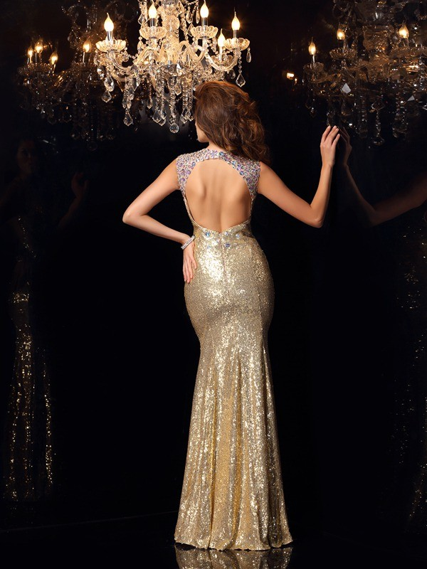 Trumpet/Mermaid High Neck Sleeveless Long Sequins Dresses