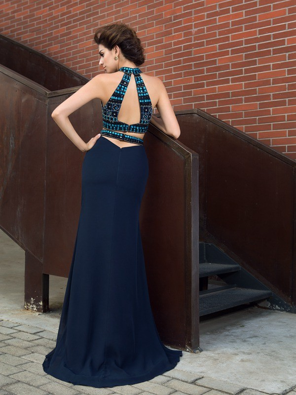 Sheath/Column High Neck Beading Sleeveless Long Chiffon Two Piece Dresses