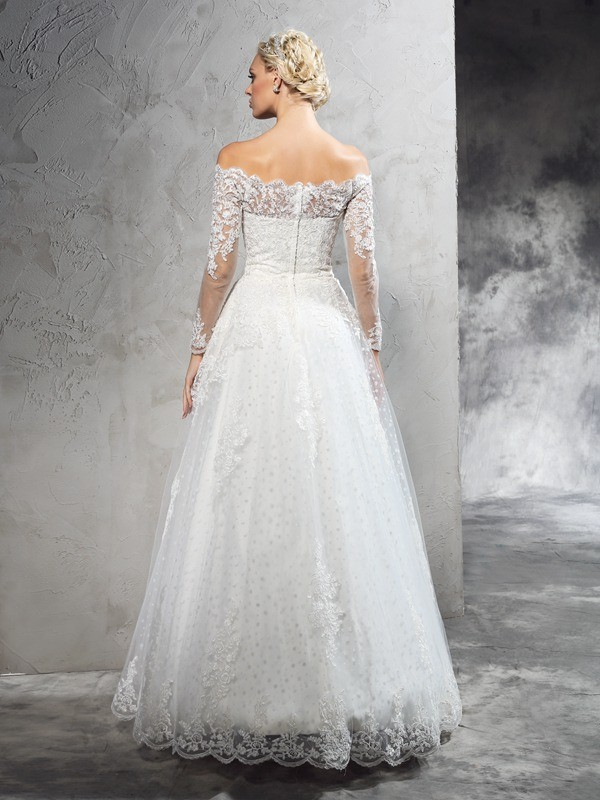Ball Gown Off-the-Shoulder Lace Long Sleeves Long Net Wedding Dresses