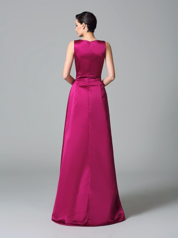 A-Line/Princess Straps Ruched Sleeveless High Low Satin Bridesmaid Dresses