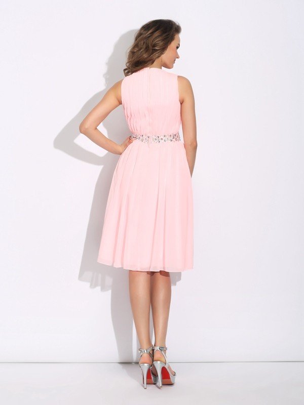 A-Line/Princess Jewel Ruffles Sleeveless Short Chiffon Dresses