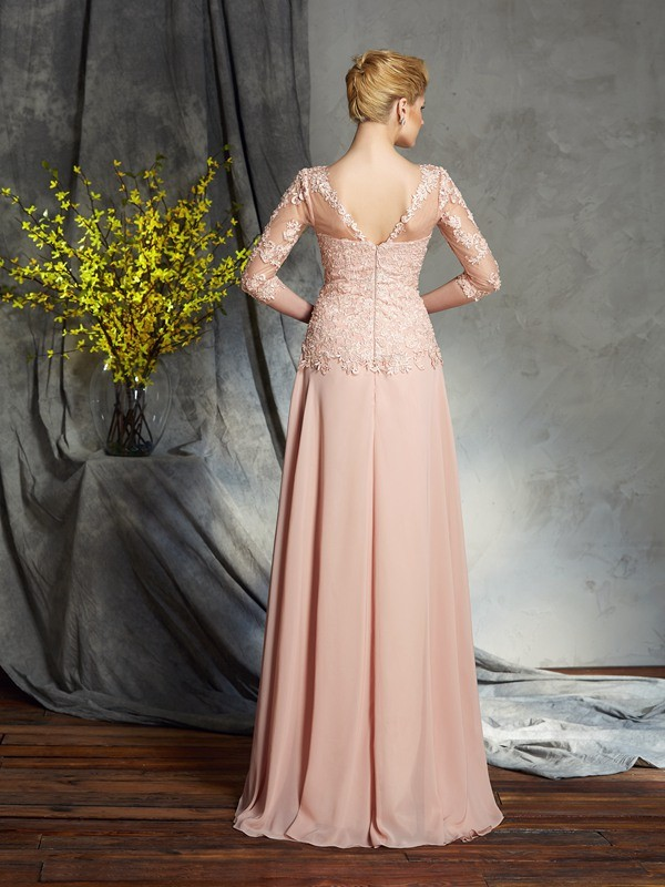 A-Line/Princess Scoop Applique 3/4 Sleeves Long Chiffon Mother of the Bride Dresses