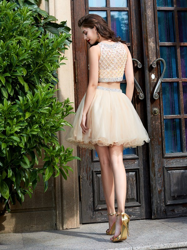 A-Line/Princess Scoop Net Sleeveless Beading Short/Mini Two Piece Dresses