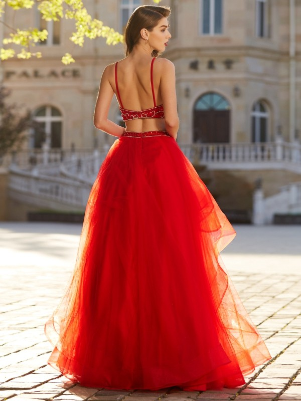 A-Line/Princess Spaghetti Straps Sleeveless Floor-Length Beading Tulle Two Piece Dresses