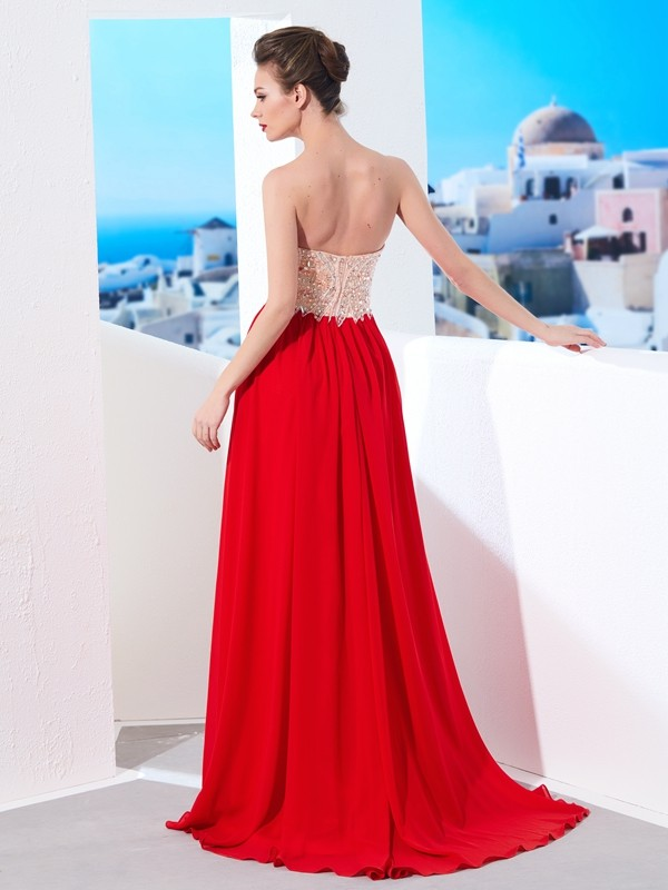 A-Line/Princess Strapless Beading Sleeveless Chiffon Sweep/Brush Train Dresses