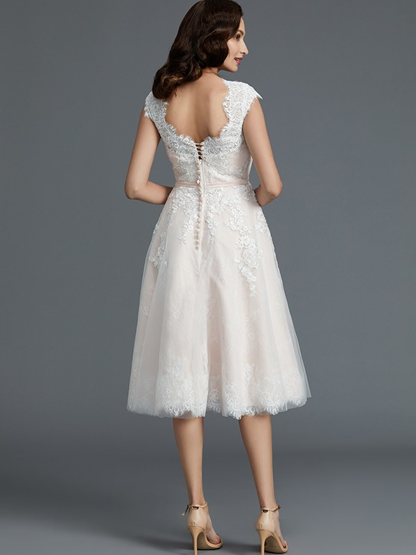 A-Line Sleeveless Bateau Knee-Length Tulle Wedding Dresses