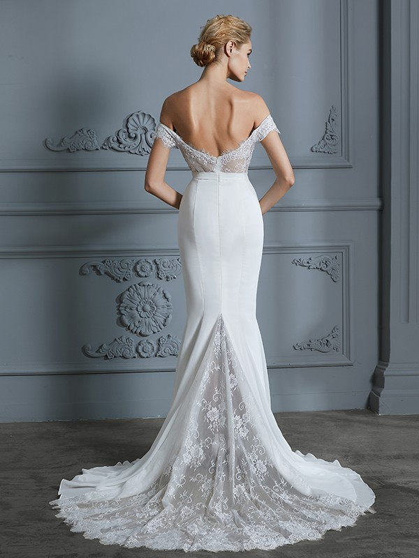 Trumpet/Mermaid Off-the-Shoulder Sleeveless Lace Chiffon Sweep/Brush Train Wedding Dresses