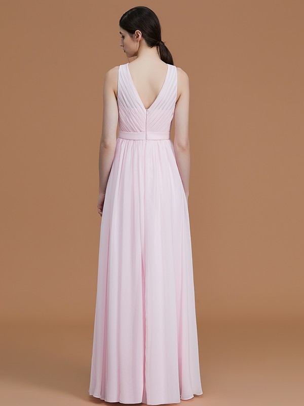A-Line Jewel Sleeveless Floor-Length Chiffon Bridesmaid Dress