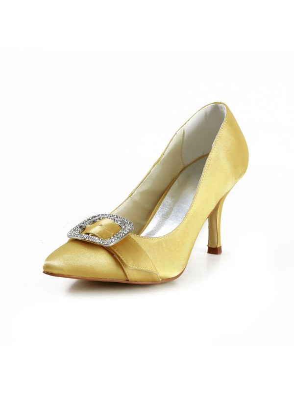 Women's Charming Satin Stiletto Heel Closed Toe With Rhinestone Gold Wedding Shoes