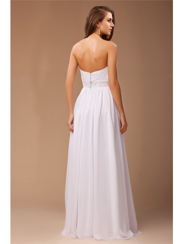 Sheath/Column Beading Sweetheart Long Sleeveless Chiffon Dresses