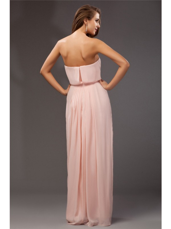 Sheath/Column Strapless Sleeveless Long Ruffles Chiffon Dresses