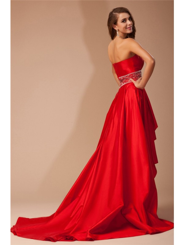 A-Line/Princess Strapless High Low Beading Sleeveless Taffeta Dresses