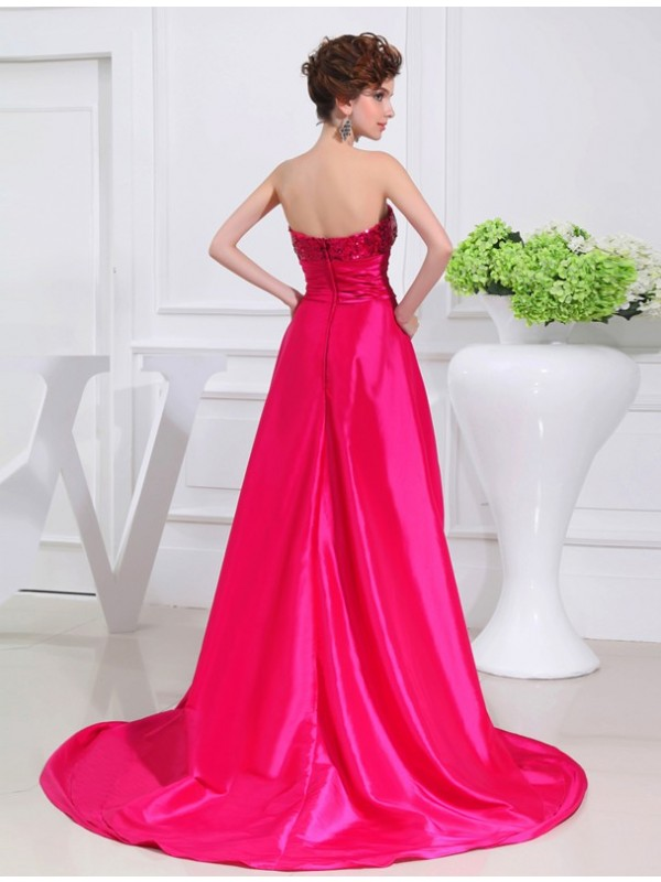 A-Line/Princess High Low Applique Strapless Sleeveless Taffeta Dresses