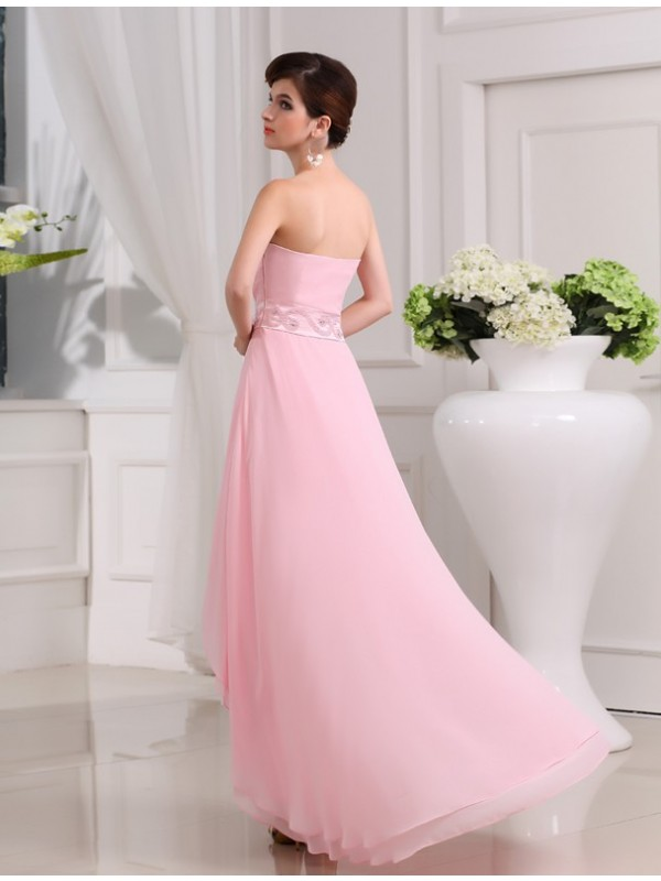 A-Line/Princess Beading Sweetheart Sleeveless High Low Chiffon Dresses