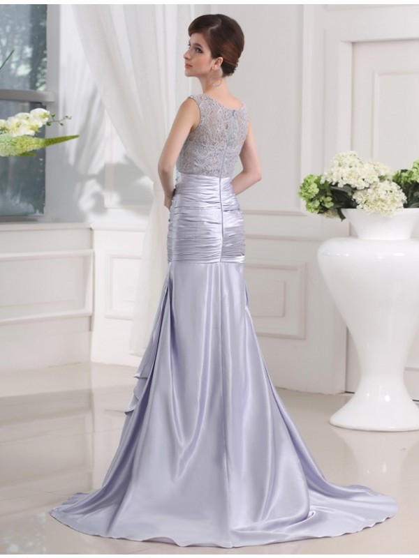 Trumpet/Mermaid Beading Sleeveless Elastic Woven Satin Long Dresses