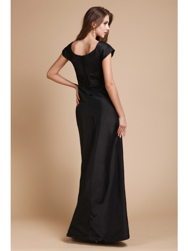 Sheath/Column V-neck Short Sleeves Long Ruffles Taffeta Dresses