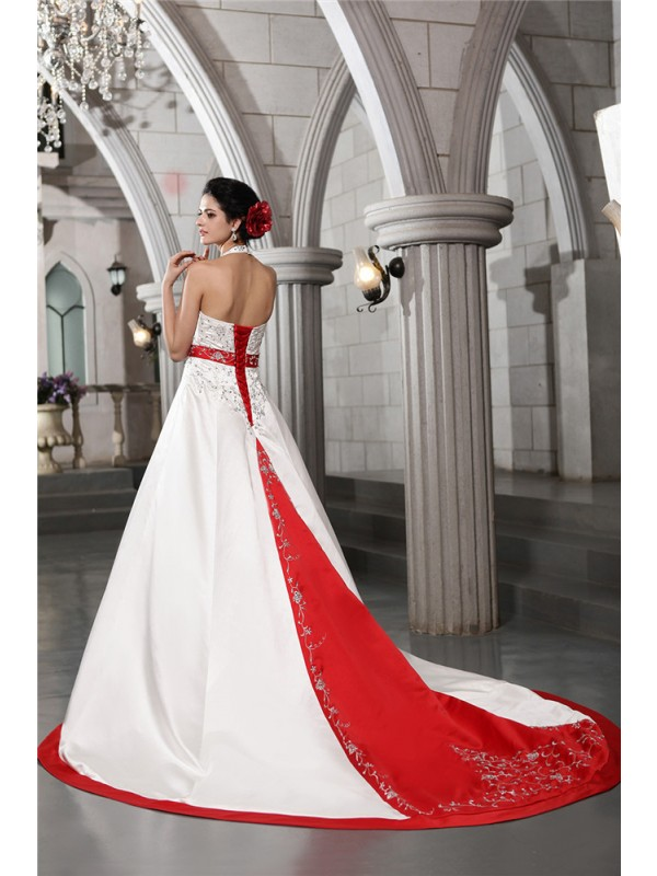 A-Line/Princess V-neck Sleeveless Beading Embroidery Long Satin Wedding Dresses