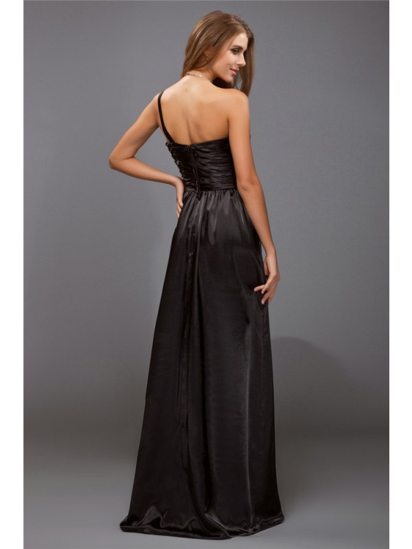 Sheath/Column One-Shoulder Sleeveless Ruffles Long Satin Bridesmaid Dresses