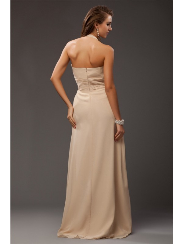 Sheath/Column Halter Sleeveless Ruffles Long Chiffon Bridesmaid Dresses