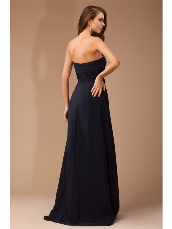 Sheath/Column Strapless Sleeveless Ruffles Long Beading Chiffon Elastic Woven Satin Dresses