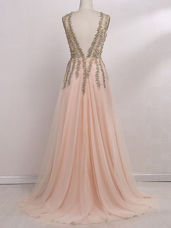 A-Line V-Neck Sleeveless Floor-Length Beading Tulle Dresses
