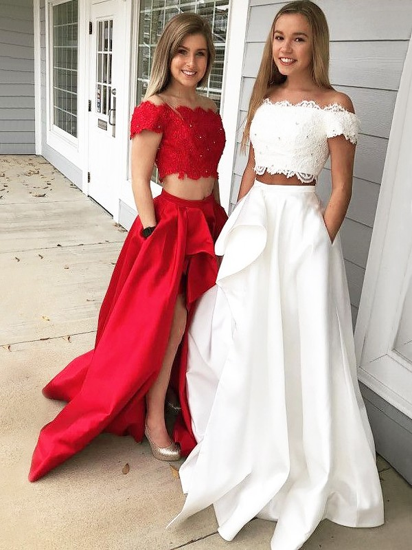 A-Line Off-the-Shoulder Sleeveless Sweep/Brush Train Lace Satin Two Piece Dresses