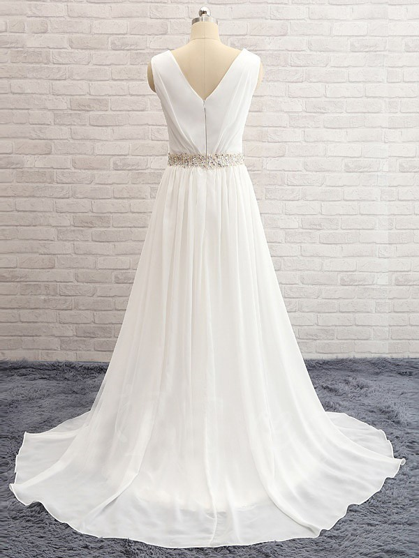A-Line/Princess V-neck Sweep/Brush Train Sleeveless Beading Chiffon Wedding Dresses
