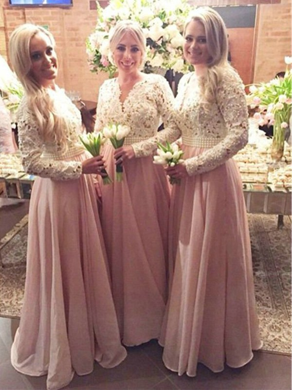 A-Line/Princess Long Sleeves V-neck Floor-Length Lace Chiffon Bridesmaid Dresses